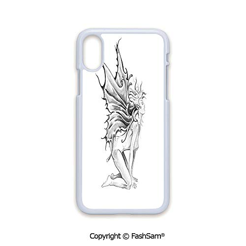 (Phone Case Compatible with iPhone X Black Edge Artistic Pencil Drawing Art Print Nude Fairy Opening its Angel Wings 2D Print Hard Plastic Phone Case)