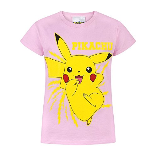 Price comparison product image Pokemon Childrens/Girls Official Pikachu Bolt T-Shirt (Years (9-10)) (Light Pink/Yellow)