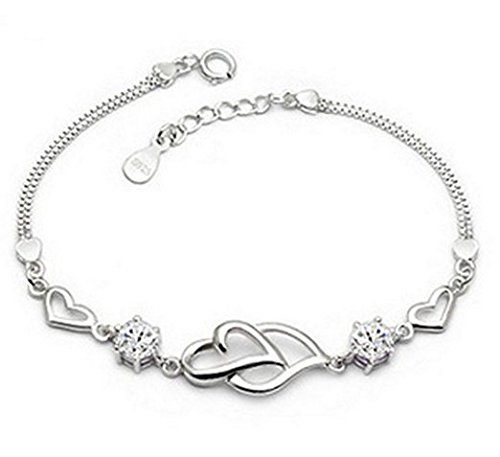 Linked Hearts (Live Future 925 Long Sterling Silver Necklace Hearts are linked together hand catenary for Women Girls (silvery))