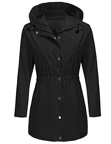happilina Womens Packable Hooded Waterproof Elastic Waist Button & Zipper Long Raincoat Jacket