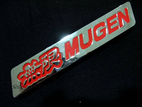 New Mugen Logo Grill Grille Emblem (UNIVERSAL FITMENT FOR ALL VEHICLES) red and Silver