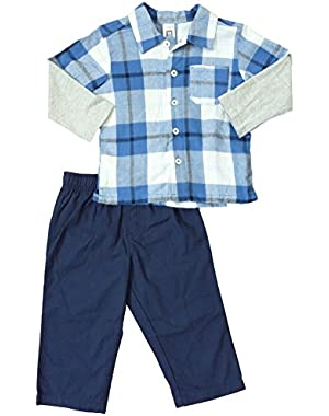 Carter's Infant & Toddler Boys Blue Plaid Flannel Button Up Shirt Pants Set