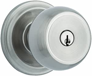 Brinks Home Security Push Pull Rotate Door Locks 23001-119 Stafford Style Keyed Entry Door Knob, Satin Nickel