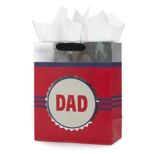 Hallmark Large Father's Day or Dad's Birthday Gift Bag with Tissue Paper (Red and Silver)