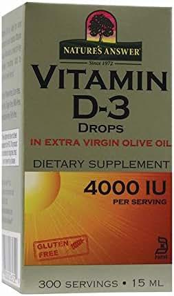 Nature's Answer Vitamin D-3 Drops 4000 IU, 0.5-Fluid Ounce