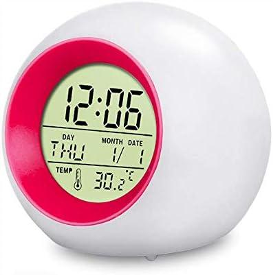 Despertador para Niños,swonuk Reloj Despertador Digital para Niños LED Reloj Alarma con 7 Colores Luz de Noche, Función Snooze, Calendario y Termómetro(Azul) (1 Sonido de Alarma)