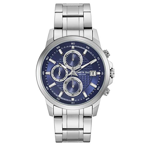 Kenneth Cole New York Male Quartz Watch with Stainless Steel Strap, Silver, 22 (Model: KC50733002)