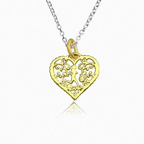 Gold Vermeil Heart Link - Gone For a Run Livia Collection 14K Gold Vermeil Filigree Runner Heart Necklace