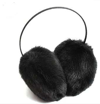 WenMei Women's Winter Fashion Soft Fluffy Fuzzy Ski Earmuff Ear Warmer Earlap Muffs Headband (Black)