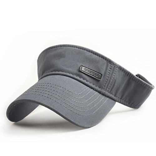 CACUSS Men's Cotton Sun Visor Caps Sports Beach Golf Hat with Adjustable Magic Tape(Grey) ()