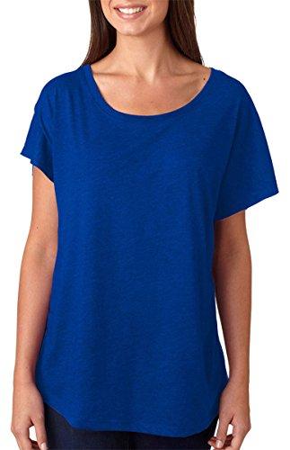 Next Level Apparel Women's Tri-Blend Dolman Top, Vintage Royal, - T-shirt Tri Blend
