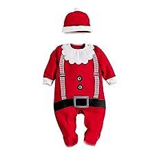 WELVT Santa's Elf Costume Unisex-Baby Leotard Jumpsuit Climbing Rompers Pant Sets