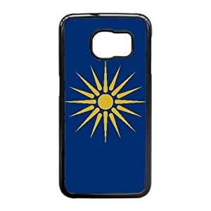 caja del teléfono celular Funda Samsung Galaxy S6 Edge Funda Negro Z6E4JW bandera de macedonia