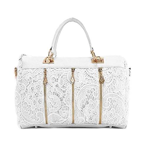 LEORX Damen Lace Weiche PU Leder Handtasche Stoffbeutel Umhängetasche (weiß) 9lrLmH8U
