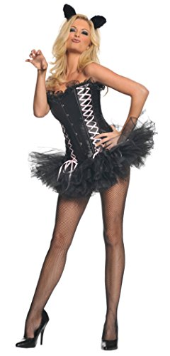 Underwraps Womens Sexy Kitty Cat Corset Animal Outfit Fancy Dress Costume, XL (18-20)