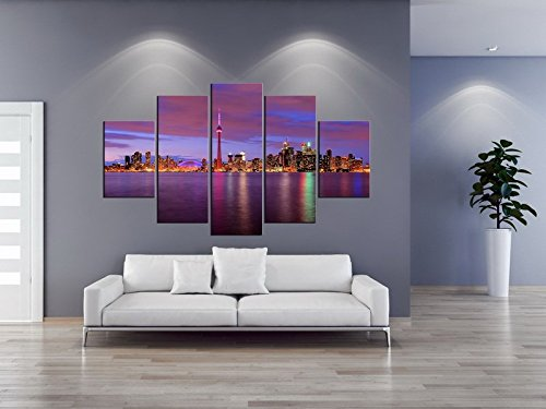 5 Panel Rainbow Canvas Print Purple Skyline Sunset Cityscape Oil Painting Living  Room Decoration No Frame Part 45