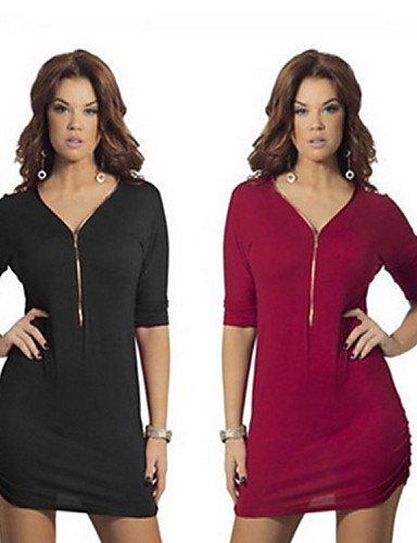 PU&PU Robe Aux femmes Trapèze Sexy / Simple,Couleur Pleine Col en V Au dessus du genou Coton / Nylon , black-m , black-m