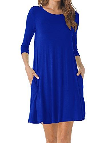 blue 3 quarter sleeve dress - 5