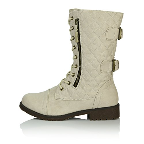DailyShoes Women's Military Lace up Buckle Combat Boots Mid Knee High Exclusive Quilted Credit Card Pocket, Quilted Ivory White Pu, 13 B(M) US by DailyShoes (Image #6)
