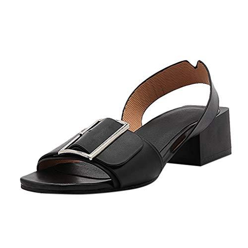 (Womens Summer Wide Width Sandals Belt Buckle Square Heel College Ladies Shoes Black)