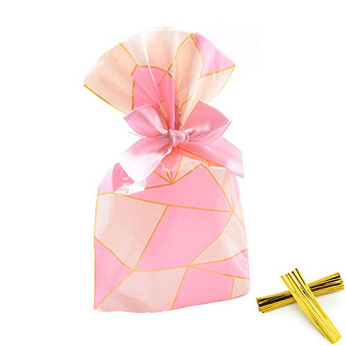 We Moment Pink Lattice Clear Cello Bags Candy Plastic Favor cellophane Treat Bags,Pack of 50