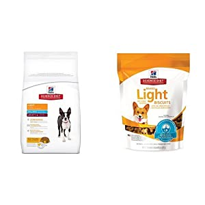 Hill's Science Diet Adult Light Small Bites  with Chicken Meal & Barley Dry Dog Food (5 pound bag) and Baked Light Biscuits with Real chicken small Dog treats (8 ounce bag)