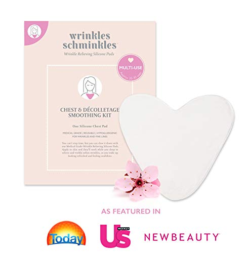 WRINKLES SCHMINKLES - Chest Smoothing Kit with Silicone Decolette Pad - Made in USA - Premium Decolletage Wrinkle Treatment - Correct Chest Wrinkles due to Side Sleeping with our Anti Wrinkle Patches