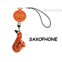 Saxophone Leather Goods mobile/Cellphone Charm VANCA CRAFT-Collectible Uniqe Mascot Made in Japan