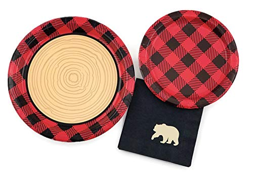 Buffalo Plaid Party Set - 16 Plates Napkins Lumberjack Birthday Bear Baby Shower -