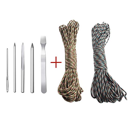 Aliyaduo 5 PCS Paracord Stitching Set Professional Paracord FID Lacing Stitching Needle and 2 PCS Paracord 100 feet Climbing Paracord Braided Rope Forest Camouflage and Army Green Camouflage