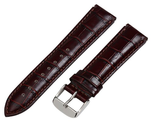 18mm 2 Piece Ss Leather Croco Grain Rich Brown Interchangeable Watch Band Strap - Fits Philip Stein - Leather Band Croco Brown