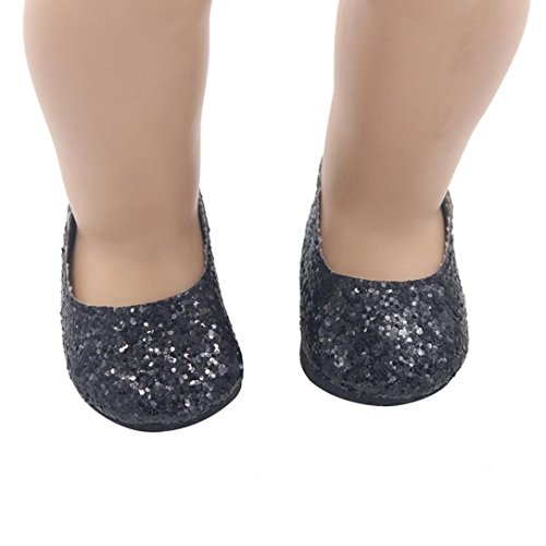 Digood For 18 Inch American Girl Doll Sequin Bling Glitter Mary Jane Shoes Accessories (Black) Dolls Black Mary Jane Shoes