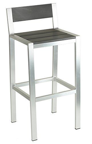 Haven Aluminum Outdoor Barstool in Slate Grey Poly Wood, Brushed (Aluminum Outdoor Bar Stools)