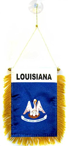 ALBATROS (Pack of 3) State of Louisiana Mini Flag 4 inch x 6 inch Window Banner with Suction Cup for Home and Parades, Official Party, All Weather Indoors Outdoors ()