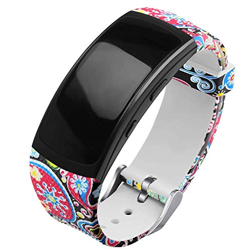 OenFoto Compatible Gear Fit2 Pro/Fit2 Band, Replacement Silicone Accessories Strap Samsung Gear Fit2 Pro SM-R365/Gear Fit2 SM-R360 Smartwatch -Marine Fish Pattern