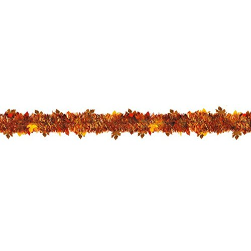 Fall Thanksgiving Decoration (Amscan Welcome Fall Thanksgiving Party Autumn Leaves Boa Tinsel Garland Decoration, 9