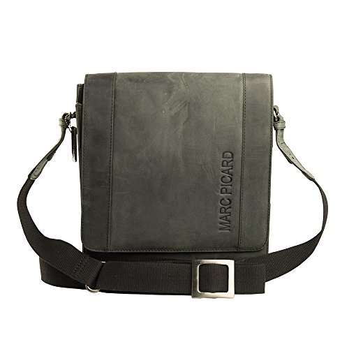 Handgearbeitete hochwertige, handschmeichelnde Marc Picard Leder Tasche Umhängetasche Schultertasche Messenger Bag 28x30x9 (Tobacco) Schwarz
