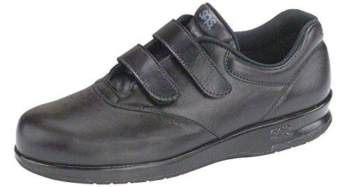 SAS Women's Me Too Velcro Strap Leather Walking Comfort Shoes (9 WW, Black) - Sas Comfort Shoes