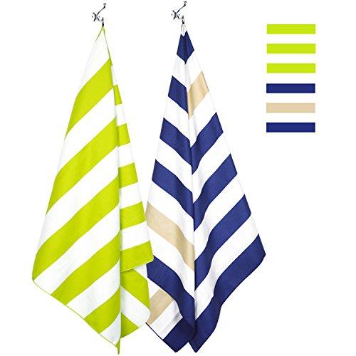 Beach Cabana Lounge - Microfiber Towel - Beach & Travel (2 Pack - Khaki&Navy/Green - Extra Large 67x35) - Beach Blanket, Lounge Chair Beach Towel Cover, Picnic Mat with Mesh Carry Bag