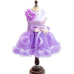 SMALLLEE_LUCKY_STORE Pet Small Dog Puppy Cat Clothes Coat Wedding Costume Satin Rose Formal Dress Tutu Purple Violet M