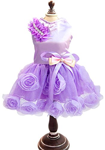 [SMALLLEE_LUCKY_STORE Pet Small Dog Puppy Cat Clothes Coat Wedding Costume Satin Rose Formal Dress Tutu Purple Violet] (Halloween Costumes Violet)