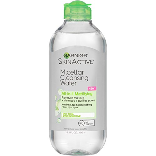 Garnier SkinActive Micellar Cleansing Water for Oily Skin, 13.5 Ounce (Green Makeup Remover)