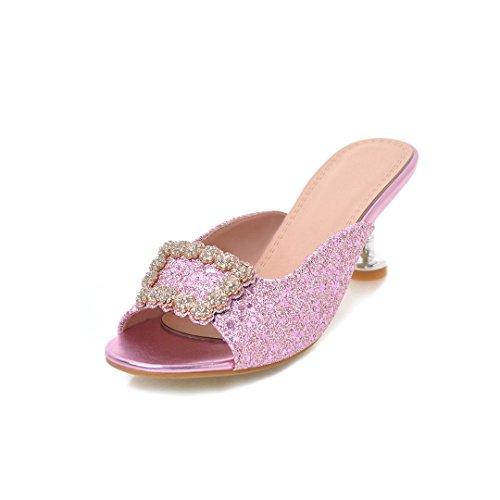 Alto Mujer de Segundo Cuadrada Nueva Zapatos Hebilla Tamaño de Zapatillas de Primavera Las Tacón Color de Verano Señoras Rhinestone 36 Sandalias Tamaño Gran de Sandalias Impresión 5ppYUg