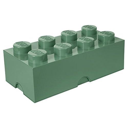 Lego Brique de rangement 8 plots, Boîte de rangement empilable, 12 l, Vert Sable