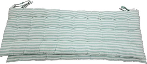Melange 100% Cotton 44' x 17' Bench Cushions, Set of 2, Green Stripes