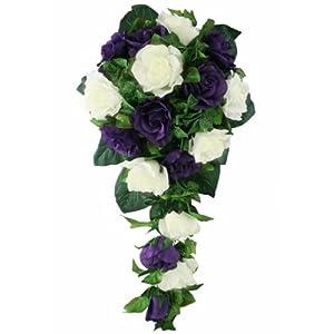 Purple and Ivory Silk Rose Cascade - Bridal Wedding Bouquet 66