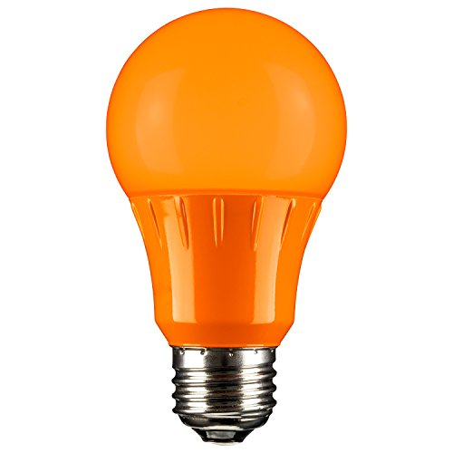 Sunlite 80147 Orange LED A19 3 Watt Medium Base 120 Volt UL Listed LED Light Bulb, last 25,000 Hours -