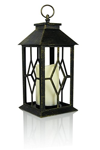 Banberry Designs Decorative Lantern - Antique Bronze Lantern with a Flameless LED Pillar Candle and 5 Hour Timer - Outdoor Lighting - 13