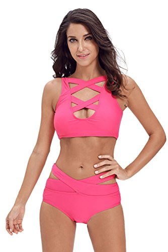 Astylish Womens Sexy Criss Cross High Waist Bandage 2PCS Bikini Set Swimsuit Rosy Medium