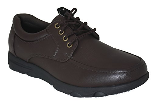 Gelato 8551 Moc Toe Lace up Slip & Oil Resistant Men's Comfort Work Shoe With Water & Stain Resistant Upper Brown 9.5 D(M) US